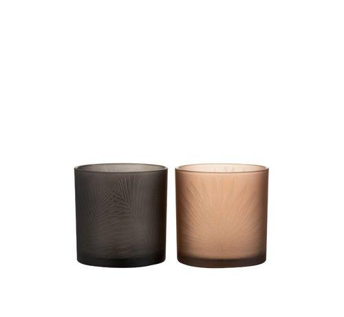 J-Line Tea Light Holders Glass Leaves Black Brown - Medium