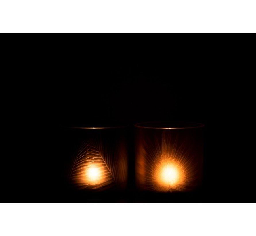 Theelichthouders Glas Bladeren Zwart Bruin - Medium