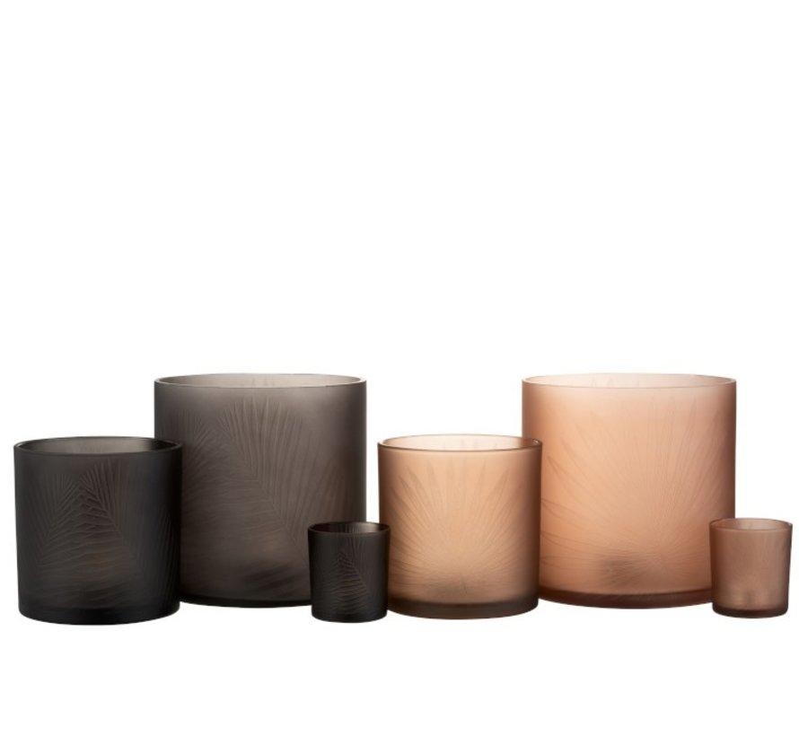 Tea Light Holders Glass Leaves Black Brown - Medium