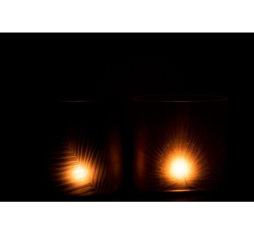 Theelichthouders Glas Bladeren Zwart Bruin - Large