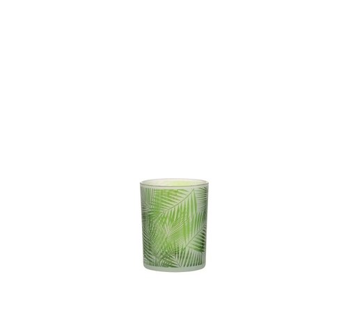 J -Line Theelichthouder Glas Tropisch Transparant Groen - Small