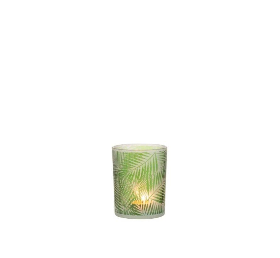 Theelichthouder Glas Tropisch Transparant Groen - Small
