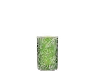 J-Line Theelichthouder Glas Tropisch Transparant Groen - Medium