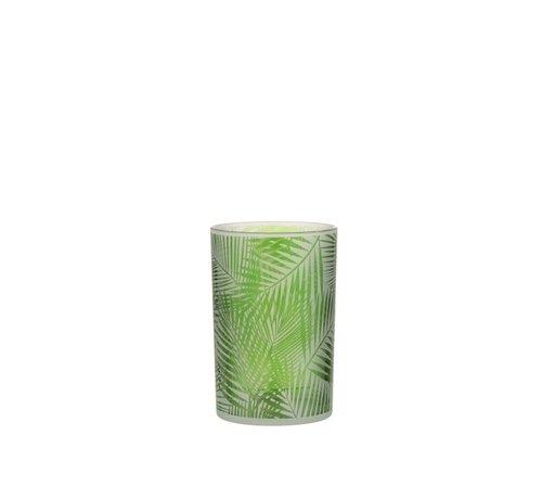 J -Line Theelichthouder Glas Tropisch Transparant Groen - Medium