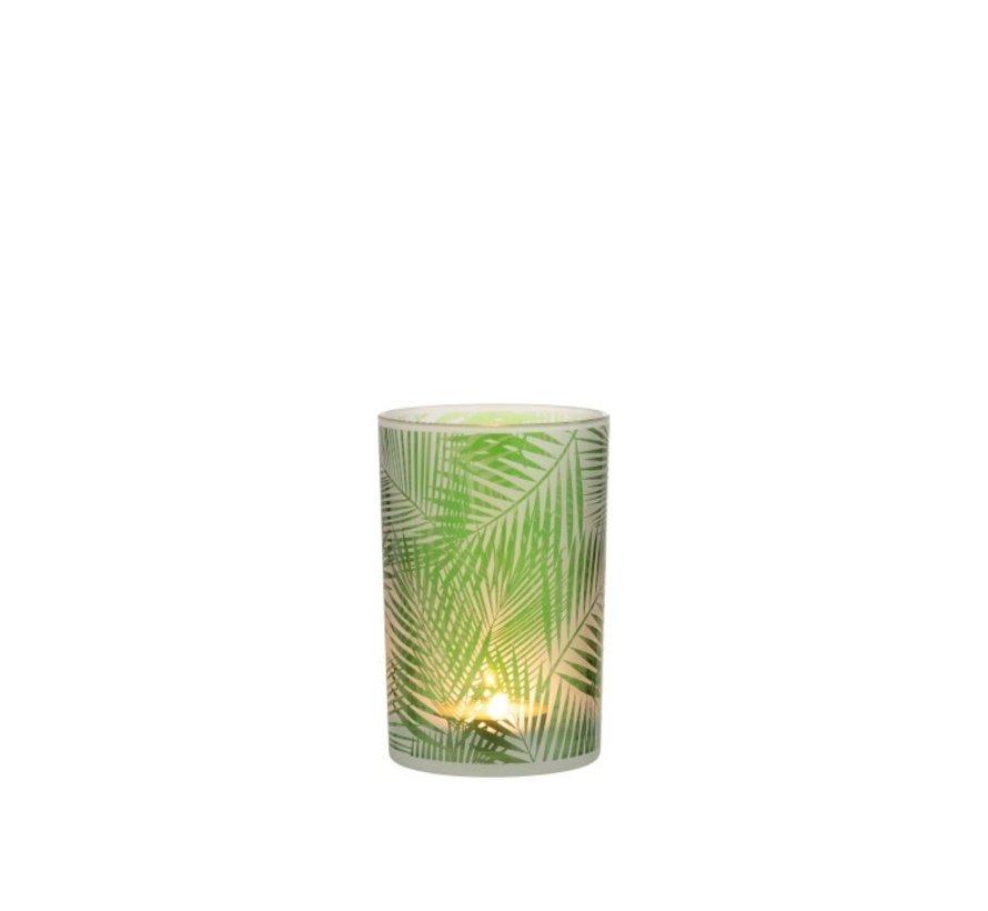 Theelichthouder Glas Tropisch Transparant Groen - Medium