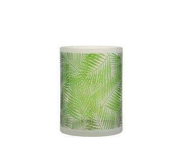 J-Line Theelichthouder Glas Tropisch Transparant Groen - Large