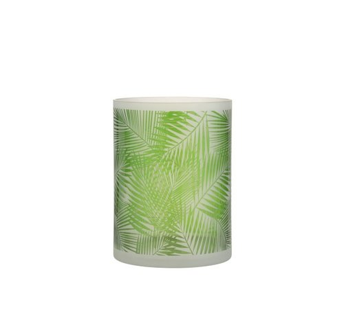 J -Line Theelichthouder Glas Tropisch Transparant Groen - Large