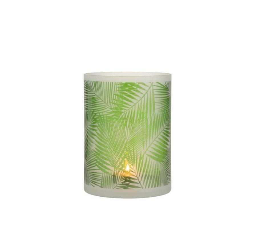 Theelichthouder Glas Tropisch Transparant Groen - Large