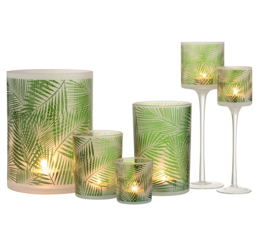 Tealight Holder Glass On Stand Tropical Transparent - Green
