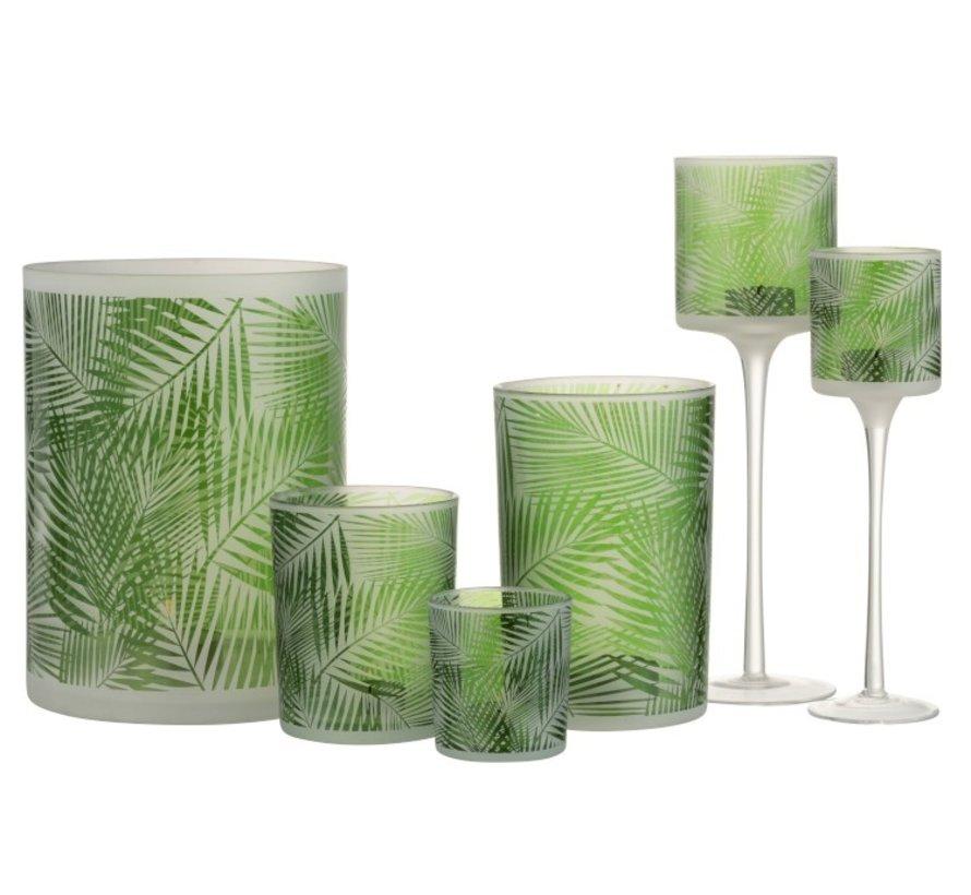 Theelichthouder Glas Op Voet Tropisch Transparant - Groen