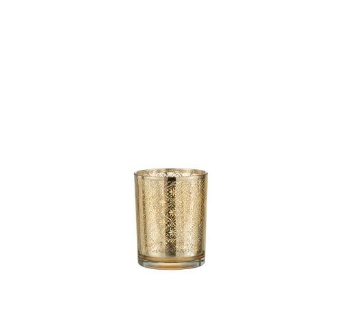 J -Line Tea Light Holder Glass Oriental Gold - Small
