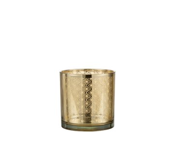 J -Line Tea Light Holder Glass Oriental Gold - Medium