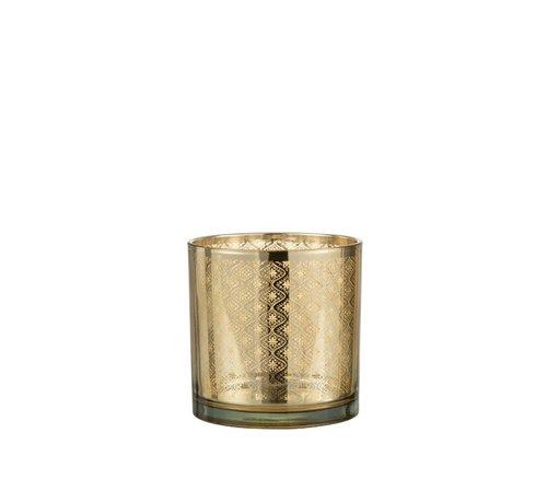 J -Line Theelichthouder Glas Oosters Goud - Medium