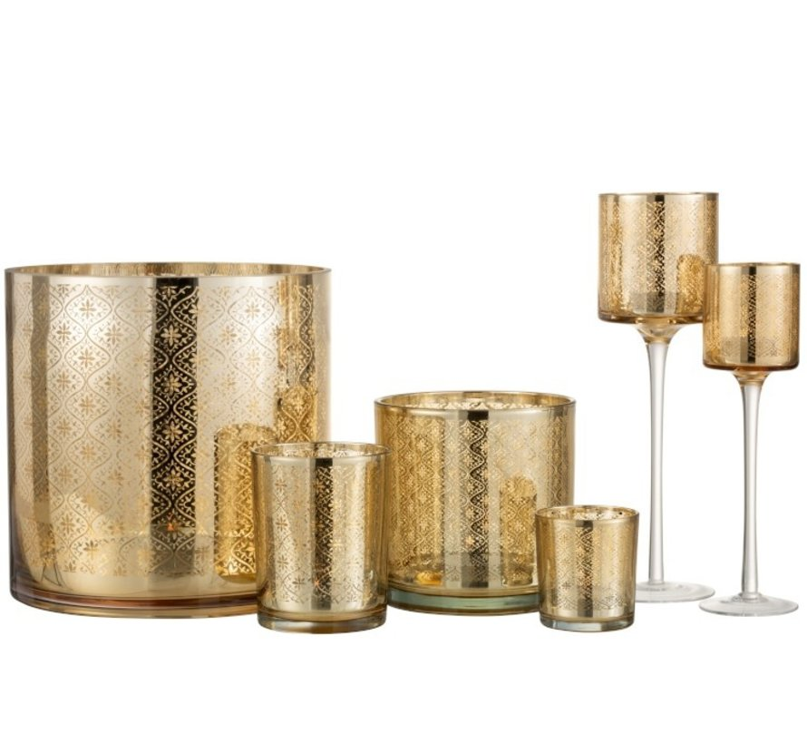 Theelichthouder Glas Oosters Goud - Medium