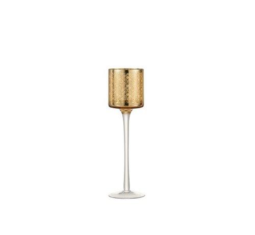 J -Line Theelichthouder Oosters Glas Op Voet Goud - Small