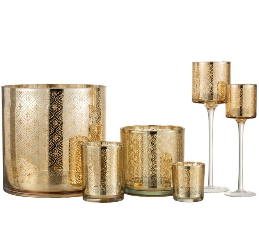 Theelichthouder Oosters Glas Op Voet Goud - Small