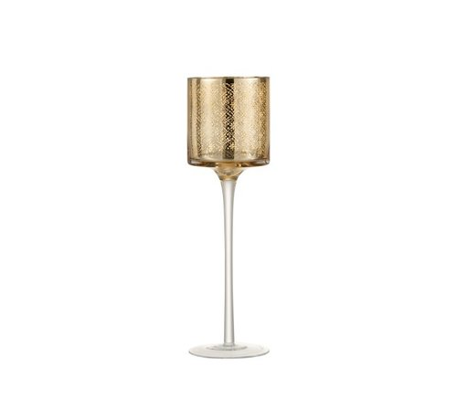 J -Line Theelichthouder Oosters Glas Op Voet Goud - Large