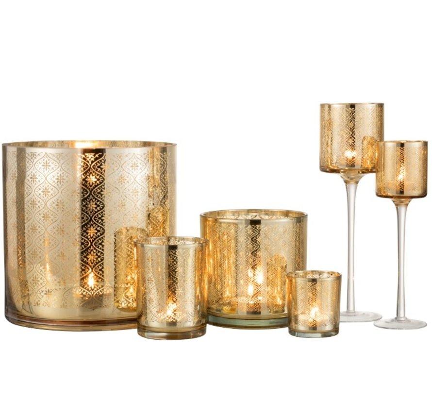 Theelichthouder Oosters Glas Op Voet Goud - Large