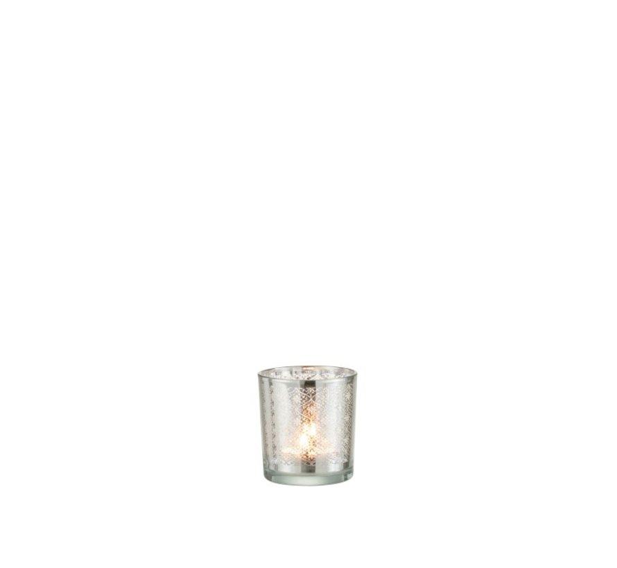 Tea Light Holder Glass Oriental Silver - Extra Small