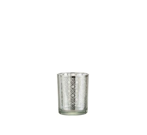 J-Line Tea Light Holder Glass Oriental Silver - Small