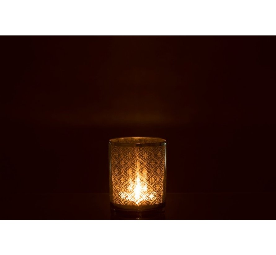 Tea Light Holder Glass Oriental Silver - Small