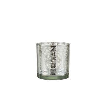 J -Line Tea Light Holder Glass Oriental Silver - Medium