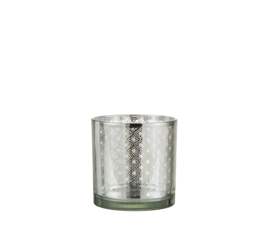 Tea Light Holder Glass Oriental Silver - Medium