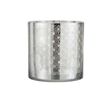 J -Line Tea Light Holder Glass Oriental Silver - Large