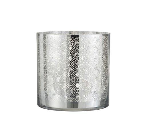 J-Line Tea Light Holder Glass Oriental Silver - Large