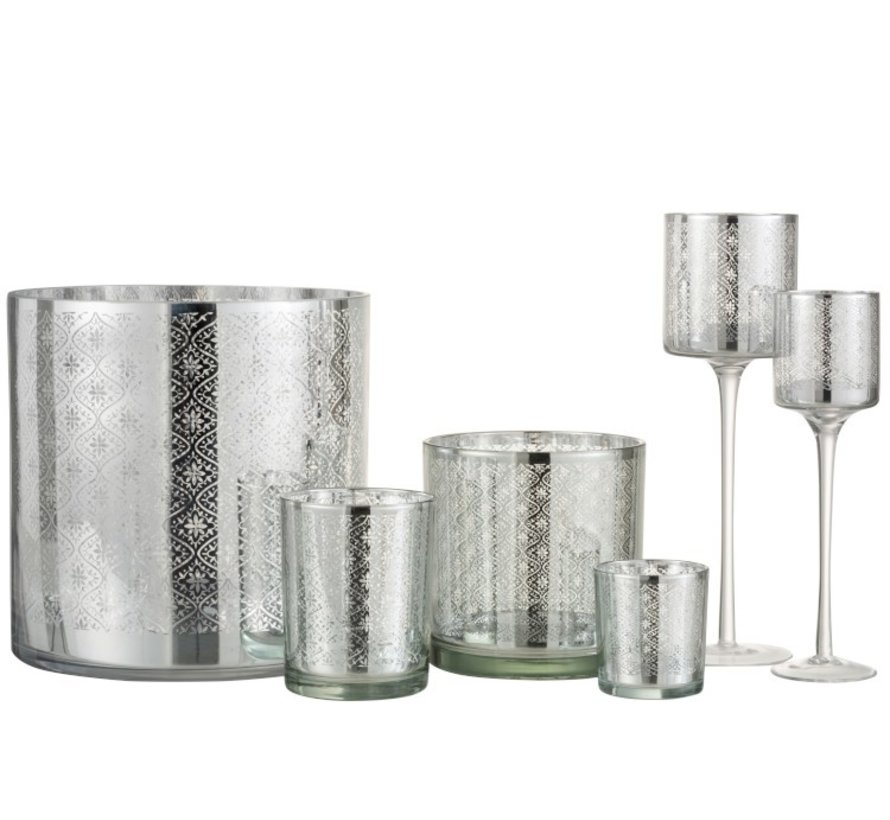 Theelichthouder Glas Oosters Zilver - Large