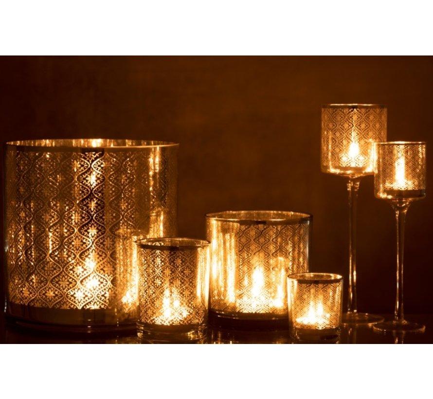 Tea Light Holder Glass Oriental Silver - Large