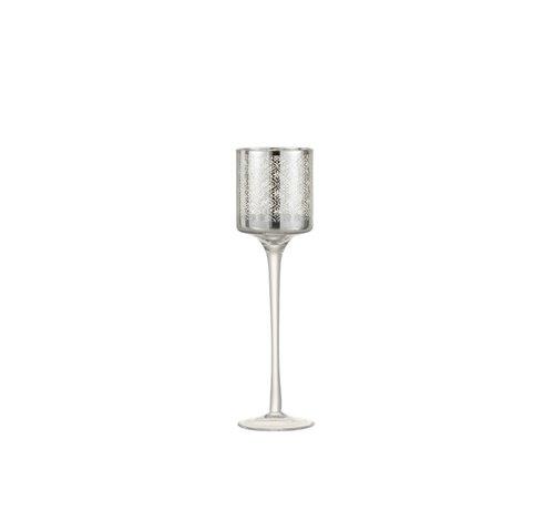 J -Line Tea Light Holder Glass On Foot Oriental Silver - Small