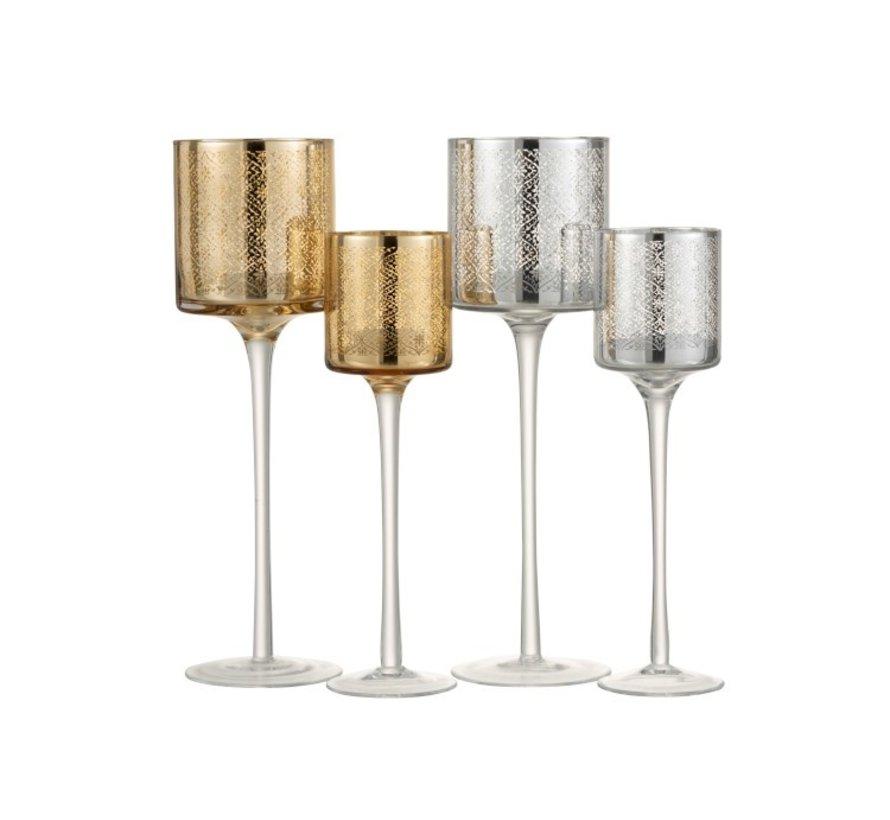 Tea Light Holder Glass On Foot Oriental Silver - Small