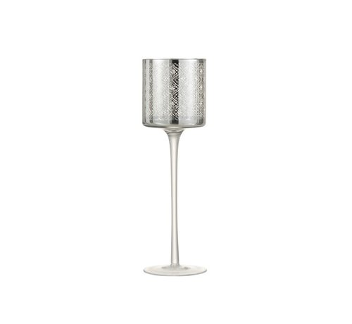 J-Line Tea Light Holder Glass On Foot Oriental Silver - Large