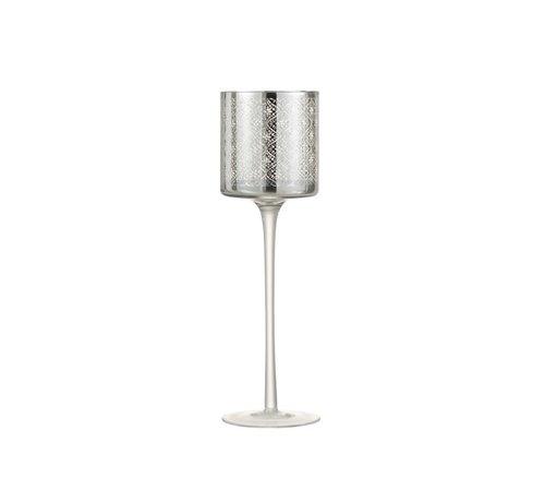 J -Line Theelichthouder Glas Op Voet Oosters Zilver - Large