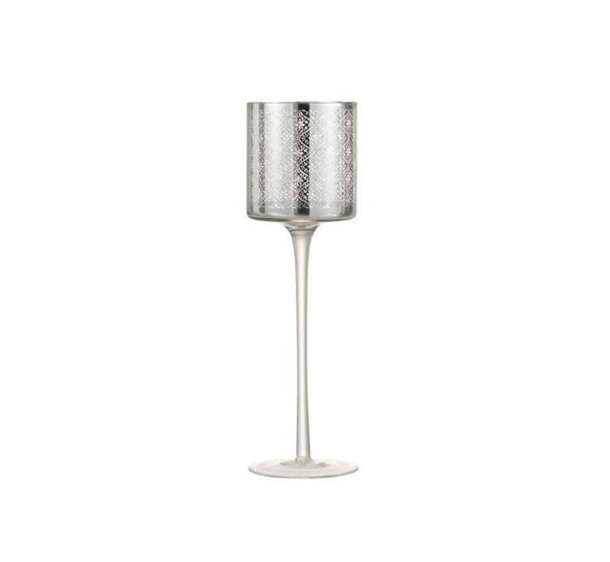 Theelichthouder Glas Op Voet Oosters Zilver - Large