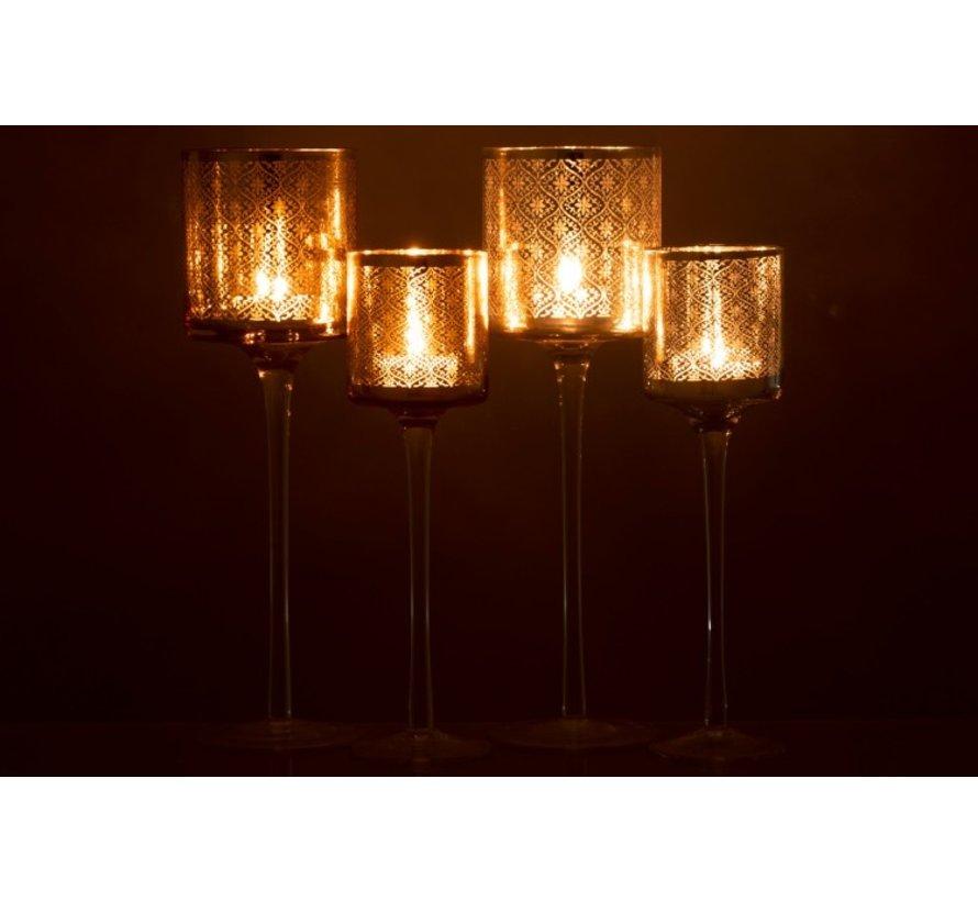 Tea Light Holder Glass On Foot Oriental Silver - Large