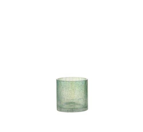 J -Line Theelichthouder Glas Crackle Transparant Groen - Small