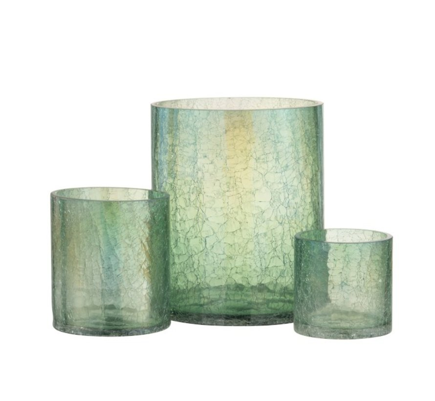 Theelichthouder Glas Crackle Transparant Groen - Small