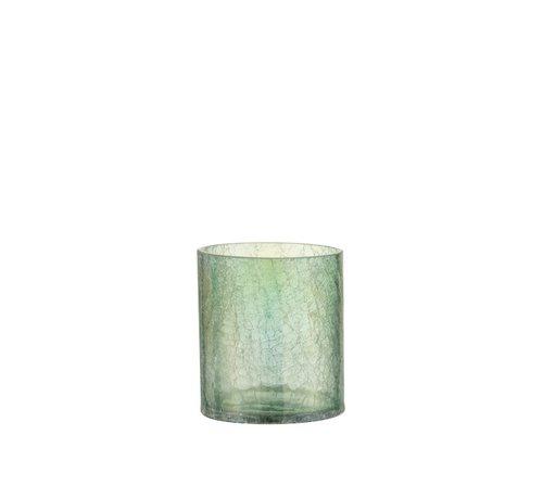 J -Line Theelichthouder Glas Crackle Transparant Groen - Medium