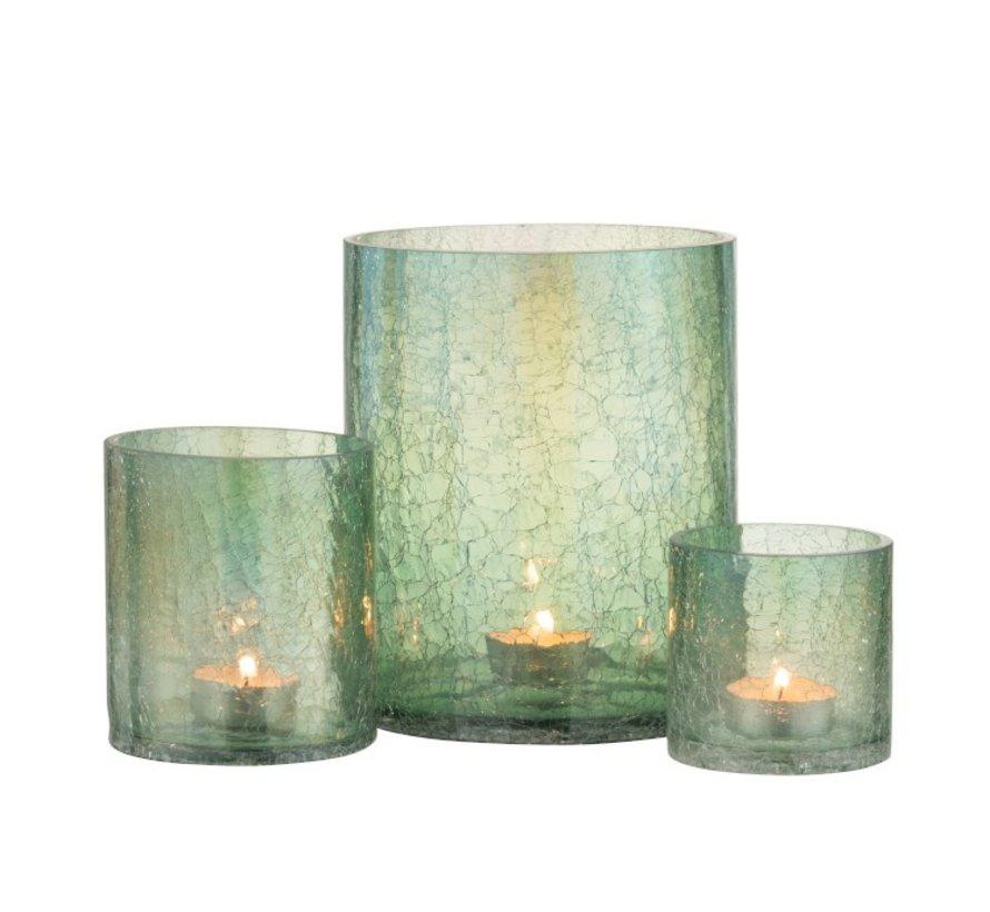 Theelichthouder Glas Crackle Transparant Groen - Medium