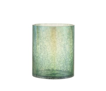 J -Line Theelichthouder Glas Crackle Transparant Groen - Large