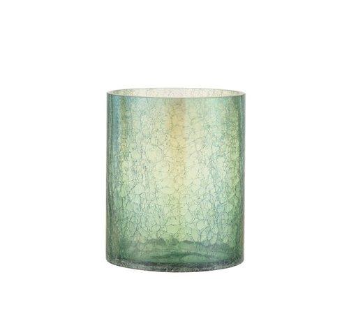J -Line Tealight holder Glass Crackle Transparent Green - Large