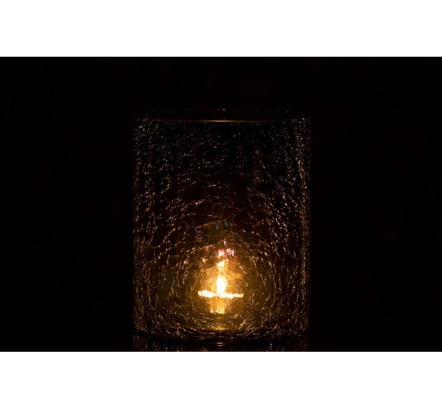 Tealight holder Glass Crackle Transparent Green - Large