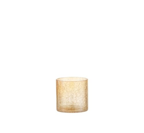 J -Line Tealight holder Glass Crackle Transparent Amber - Small