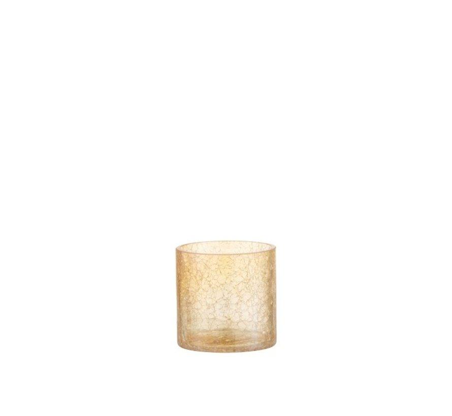 Tealight holder Glass Crackle Transparent Amber - Small