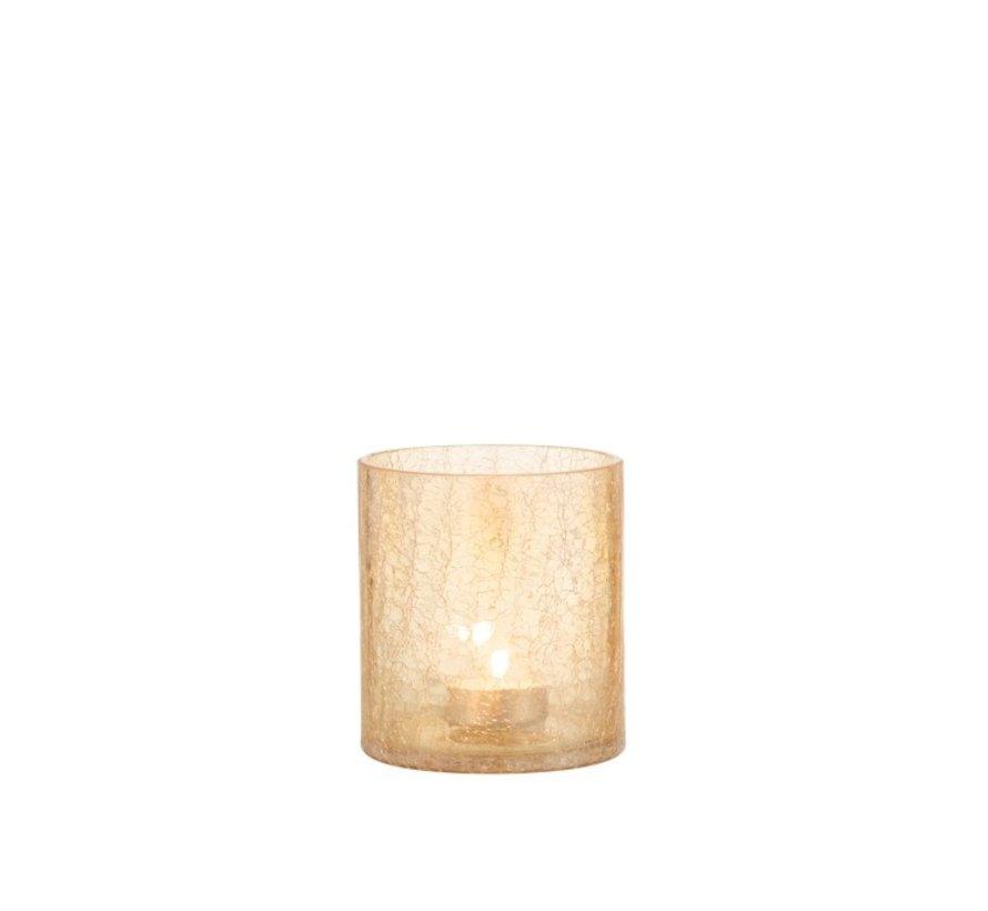 Tealight holder Glass Crackle Transparent Amber - Medium