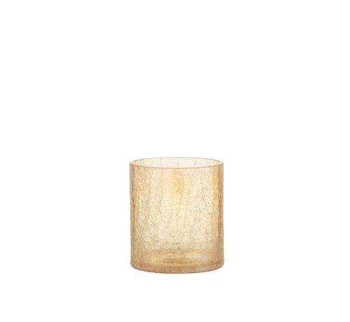 J -Line Theelichthouder Glas Crackle Transparant Amber - Medium