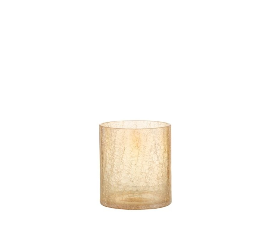 Theelichthouder Glas Crackle Transparant Amber - Medium