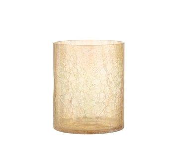 J-Line Tealight holder Glass Crackle Transparent Amber - Large